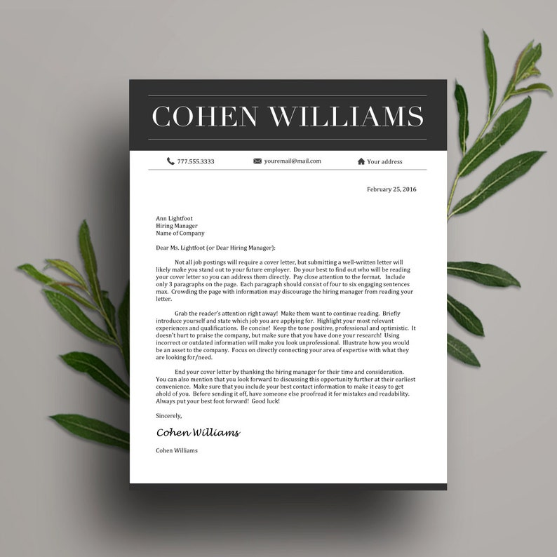 1 /& 2 Page Resume, Cover Letter, Icon Set in A4 and US Letter Instant Download Professional Resume Template for Word CV Template