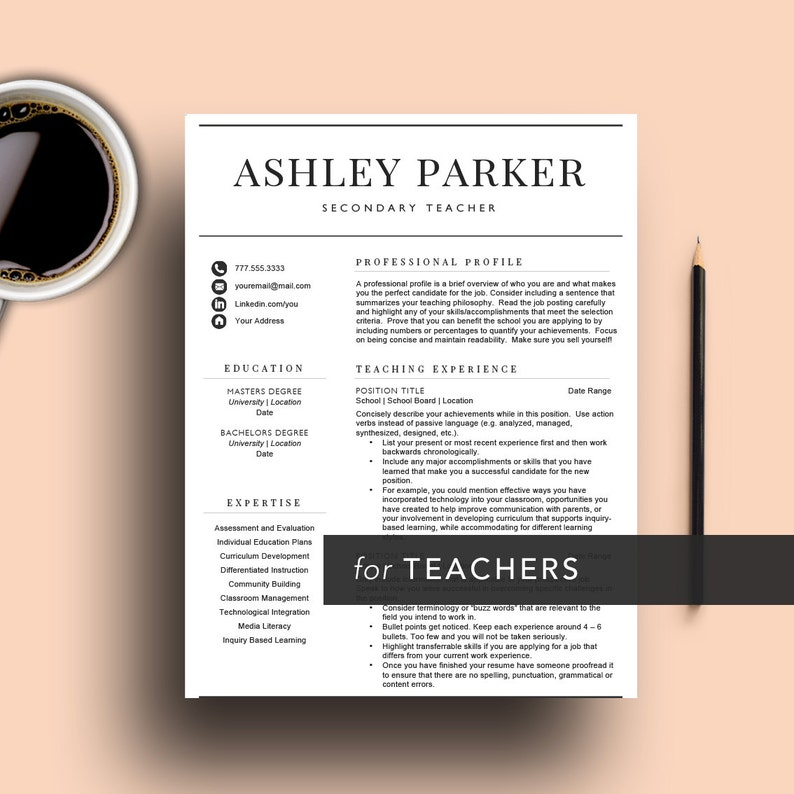 Teacher Resume Template For Word Pages 1 2 And 3 Page Etsy