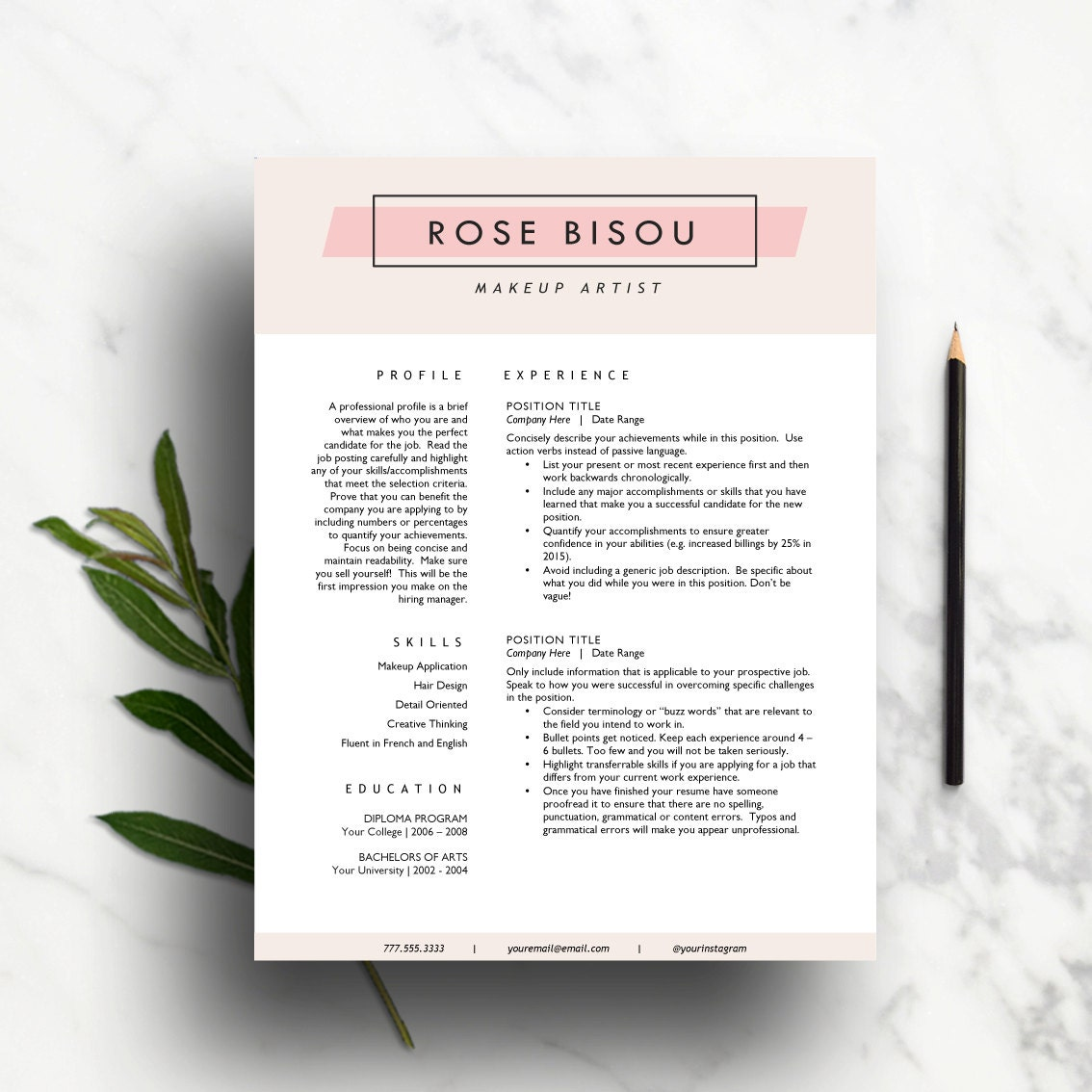 creative resume template for word 1  u0026 2 page resumes and