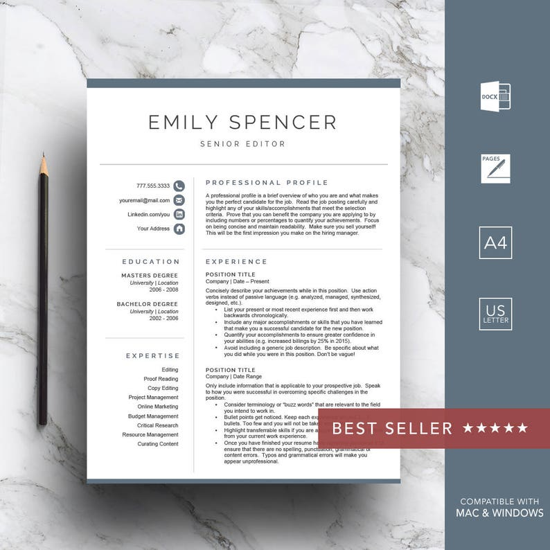 Professional resume template for Word & Pages CV Template | Etsy