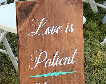 DECALS - Love is Patient Aisle Sign DECALS, Love is Patient Sign, Corinthian Wedding Sign, Corinthians Aisle DECALS, Love Is Wedding Decor