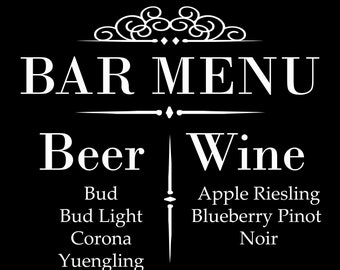 DECAL, Bar Menu, Wedding Decal, Bar Decal, Wedding Sign Decal, DECAL ONLY