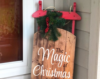 large wooden sled decorative wooden sled personalized wooden sled holiday porch decor outdoor holiday decor christmas sled porch sled