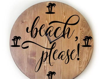 "Wall Clock, Large 18"" Wall Clock, Over Sized Clock, Unique Wall Clock, Rustic Wall Clock, Personalized Wall Clock, Gift For,  Beach Decor"