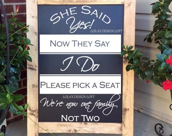 DECAL, Pick A Seat Sign Wedding Decal, Pick A Seat Decal, Wedding Sign Decal, We Are All Family Decal, Wedding Decal, DECAL ONLY