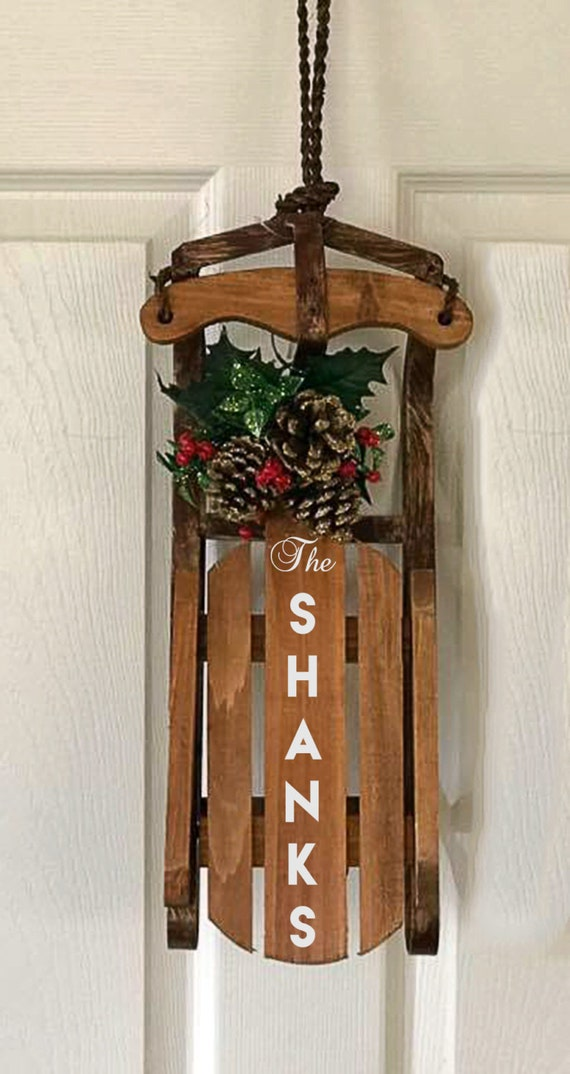 image 0 - Wooden Sled Decoration Christmas