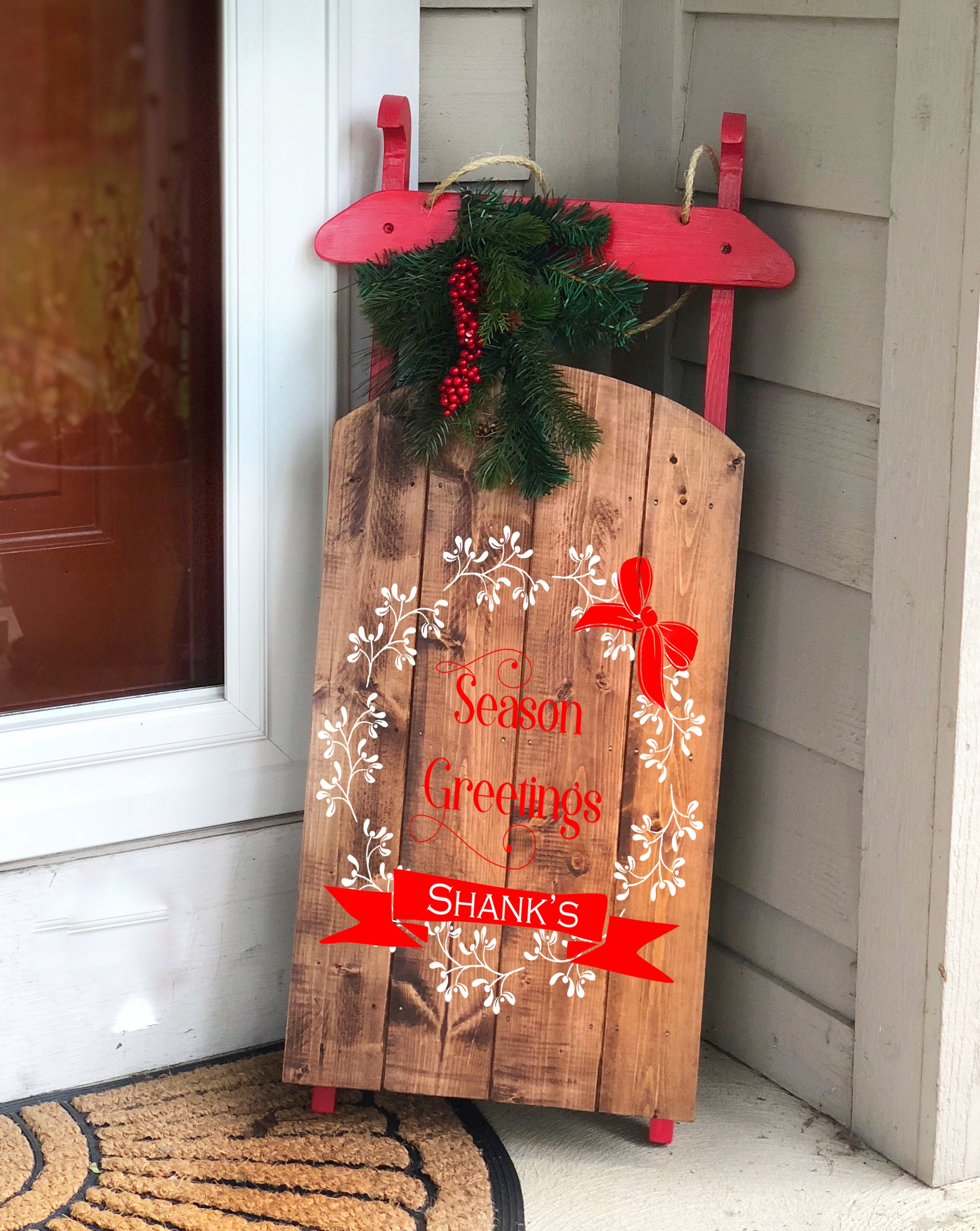 Wooden Sled Decorative Wooden Sled Personalized Wooden