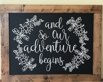 Wedding Sign, Wedding Chalkboard, Rustic Wedding, Adventure Begins, Wedding Decor, Rustic Chalkboard