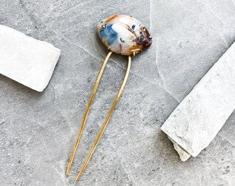 Blue Marbled Stone Hair Fork — Fancy Jasper Hair Pin | brass hair stick u pin | crystal hair accessory | red brown natural gemstone hairpin