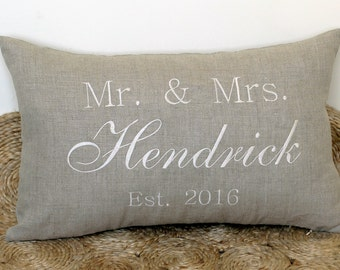 Beautiful Personalized Wedding Pillowcases Decorative Pillow cover Throw Pillow Anniversary Newlyweds Gifts for Couples