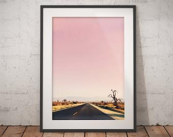 Printable Art, desert road, desert sunset Art Print, desert print, desert cactus, southwestern Photography, Bohemian, Printable Wall Art,
