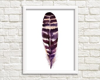 printable art Feather print, feather Art, boho wall art, Feather Printable, boho nursey decor, feather nursery, tribal nursery decor, purple