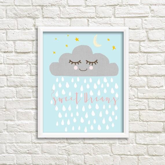 Schlafrig Raincloud Baby Print Traume Suss Kindergarten Print Etsy