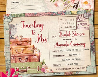 postcard bridal luggage shower invitation traveling to mrs bridal shower love is a journey travel themed bridal shower map bridal shower
