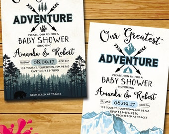 Forest baby shower etsy you are our greatest adventure invitation greatest adventure baby shower invitation greatest adventure mountain forest party invitation filmwisefo