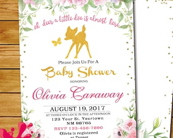 Forest baby shower etsy deer forest baby shower invitation gold oh deer invitation fairy forest deer gold baby shower bambi theme baby shower woodland shower filmwisefo