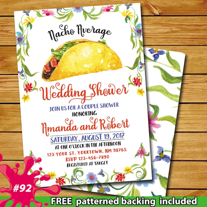 fe95bfe95a4 Taco Mexican wedding shower invitation nacho average wedding