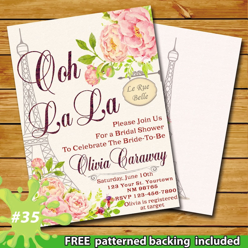 Paris Theme Bridal Shower Invitation Themed Eiffel Tower French Pink Floral Oh La