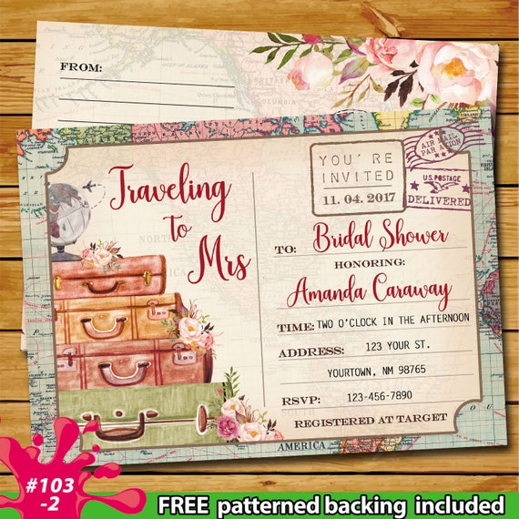 567917bc84f Postcard Bridal Luggage Shower Invitation Traveling to Mrs