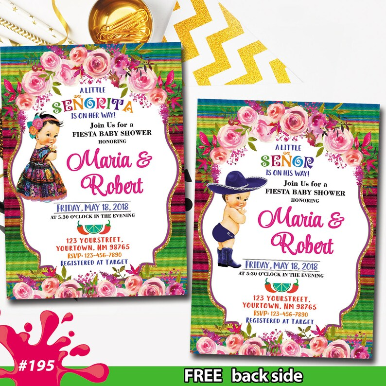 Mexican Fiesta Floral Baby Shower Invitation Senior Senorita Invitation A Little Senor Senorita On The Way Mexican Fiesta Theme Baby Shower