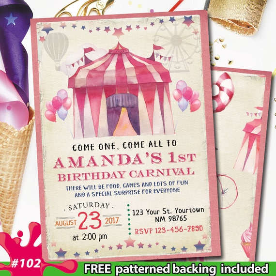 Vintage Carnival Birthday Invitation Themed Party