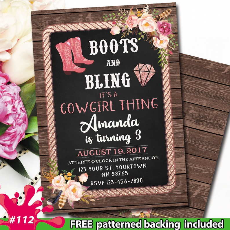 Cowgirl Birthday Party Invitation Boots And Bling Image 0