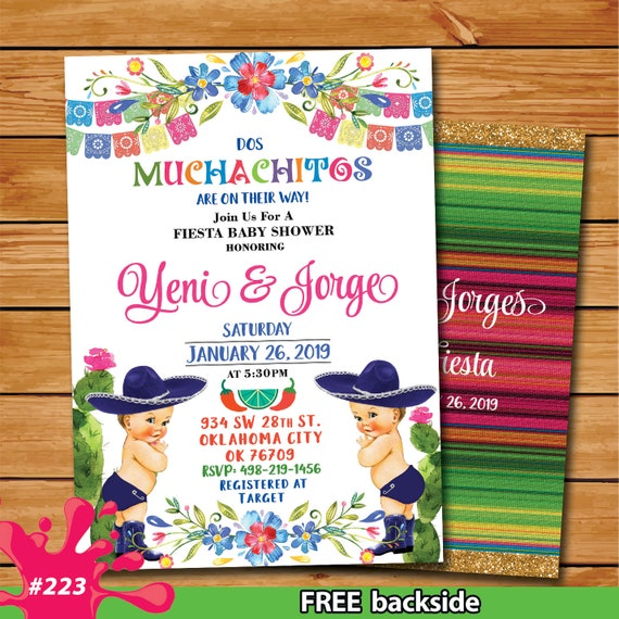 Fiesta Floral Twins Baby Shower Invitation A Little Muchachitos On The Way Mexican Fiesta Theme Baby Shower Muchachos Fiesta Mexican Shower