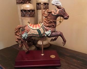 1995 San Francisco Music Box Carousel Horse Snow Globe Etsy