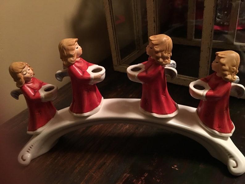 Vintage Goebel German Angel Bridge Christmas Carolers Candle Holder