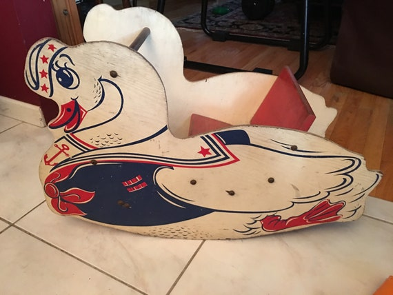Sensational Rare Wood Childs Rocking Toy Wwii Era 1940S 50S Swan Sailor Red White Blue Pdpeps Interior Chair Design Pdpepsorg