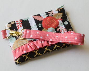 Floral Stripe Clutch