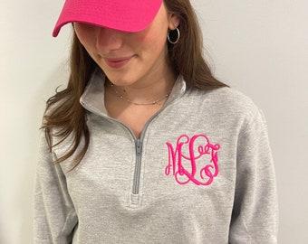 Monogrammed pullover, personalized quarter zip sweatshirt, monogrammed baseball hat, ballcap, plus size available, christmas gift set