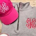 Monogrammed pullover, personalized quarter zip sweatshirt, monogrammed baseball hat, ballcap, plus size available, gift under 30