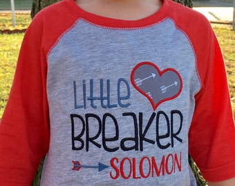 Boys Valentine shirt, Valentines Day shirt for boy, hipster valentine shirt, Little Heartbreaker shirt, boys holiday shirt, baseball raglan
