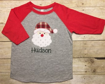 9497391c2154 Boys santa shirt, girls santa shirt, boys christmas shirt, boys holiday  shirt, girls holiday shirt, plaid, baseball raglan NONE