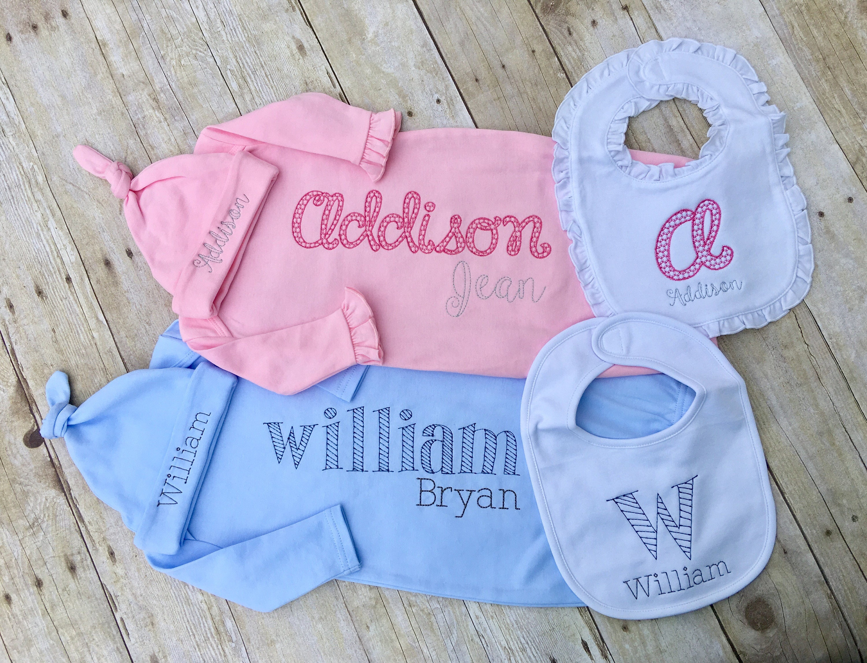 Baby name gown Twin baby clothes gender reveal birth   Etsy
