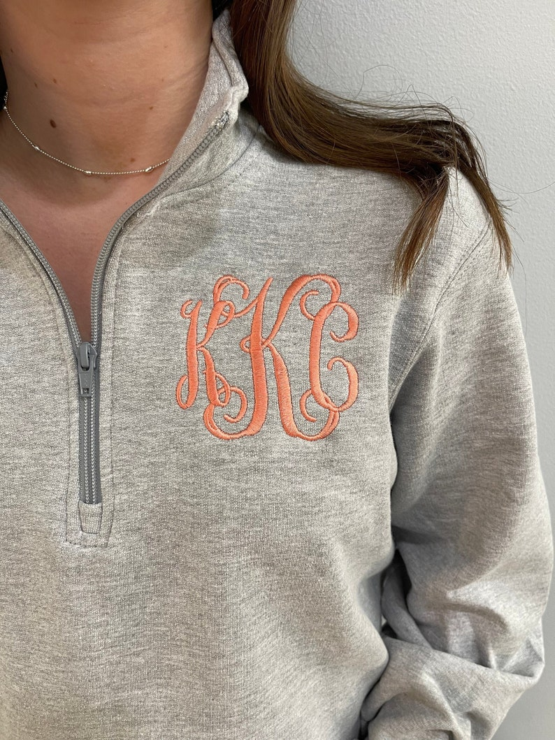 Monogram quarter zip pullover sweatshirt custom personalized image 1