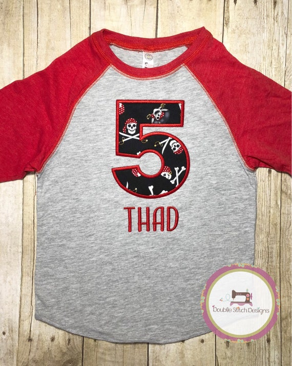 91d9a6e3 Pirate birthday shirt boys birthday shirt name and number | Etsy