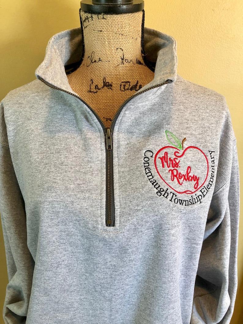 90460a05 Teacher gift school jacket pullover quarter zip apple | Etsy