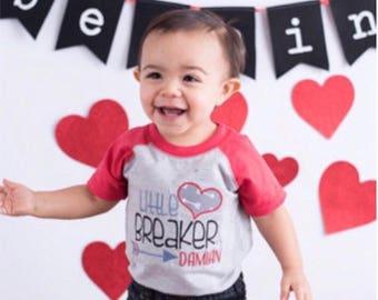 Boys Valentine shirt, Valentines Day shirt for boy, hipster valentine shirt, Little Heartbreaker shirt, boys holiday shirt, baseball raglan