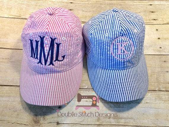 ca6a8af8ff3 Seersucker monogrammed hat pink or mavy monogrammed baseball