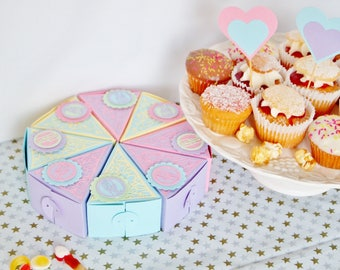 Girls Cake Box, Table Centre Piece, Party Decor, Party Favor, Goody Bag, Cake Slice, Cake Favor Box, Party Table Decor, Sweet Treat Box