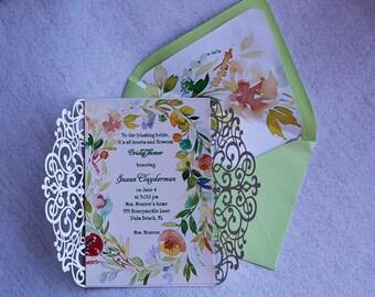 Watercolor Greenery Wedding Invitations, Mint green Invitations, Laser Cut Wedding Invitations.Greenery Invitations