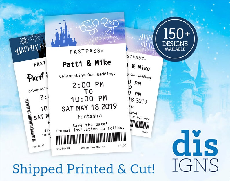 Fast Pass Wedding Save the Dates CUT AND PRINTED Available image 0