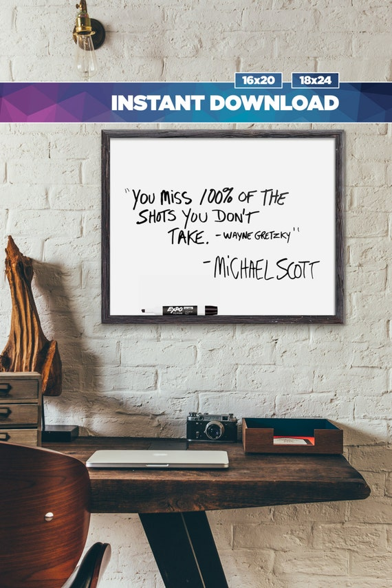 Michael Scott Wayne Gretzky Quote Instant Download Print Etsy Fascinating Michael Scott Wayne Gretzky Quote