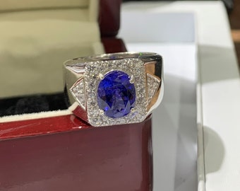 925 Sterling Silver 3.15 cts Natural Tanzanite Emerald Cut Men Ring Octagon Gemstone Ring Engagement Ring Bridle Ring