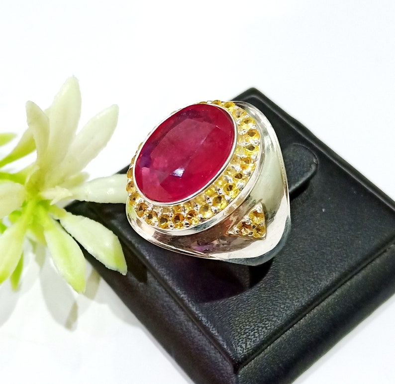 925 Sterling Silver Natural Yellow Sapphire /& Ruby Men Rings Designer Groom Ring Precious Oval Gemstone Rings Ruby Ring Wedding Ring