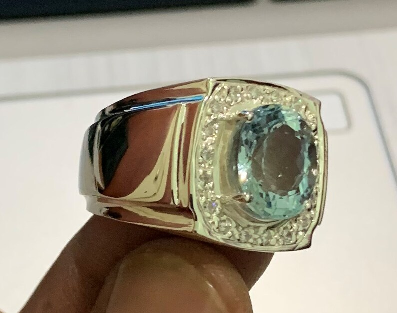 925 Sterling Silver Natural Aquamarine Oval Shape Men Ring Engagement Ring Bridle Ring Aquamarine Ring Promise Ring Gift Ring Select Size