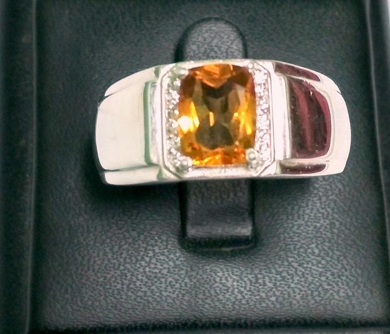 925 Sterling Silver Natural Citrine /& Cubic Zirconia Octagon Men/'s Rings Semi Precious Gemstone Ring Select Size November Birthstone Ring