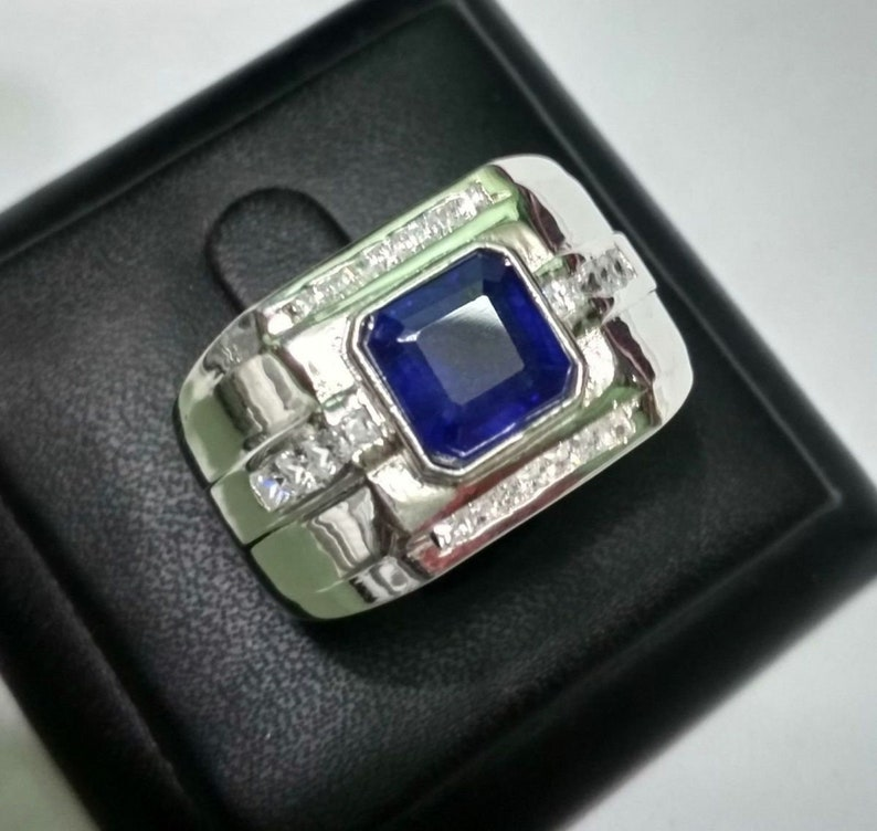Precious Gemstone Rings September Birthstone Ring,Select Size 925 Sterling Silver Natural Blue Sapphire /& CZ Square Rings